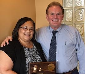 Tamara McKay, PhD, receives the MPA Past President's Award at the last board meeting.