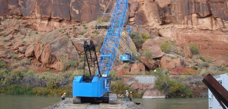 Getting micropile rig to other side of river.  Gunnison River near Grand Junction, CO (Hayward Baker)