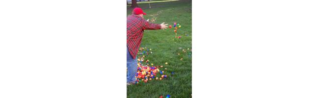 Setting up the Easter Egg Hunt on the Capital Lawn