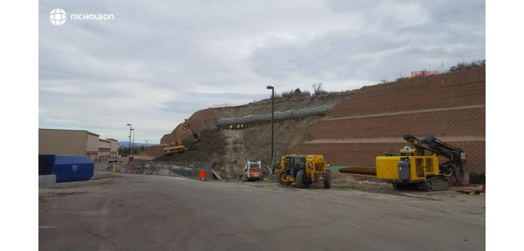 Nicholson Construction repaired a five-tier 50 foot tall mechanically stabilized earth (MSE) wall in Castle Rock, CO