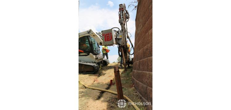 Nicholson Construction repaired an existing mechanically stabilized earth (MSE) wall in Lone Tree, Colorado